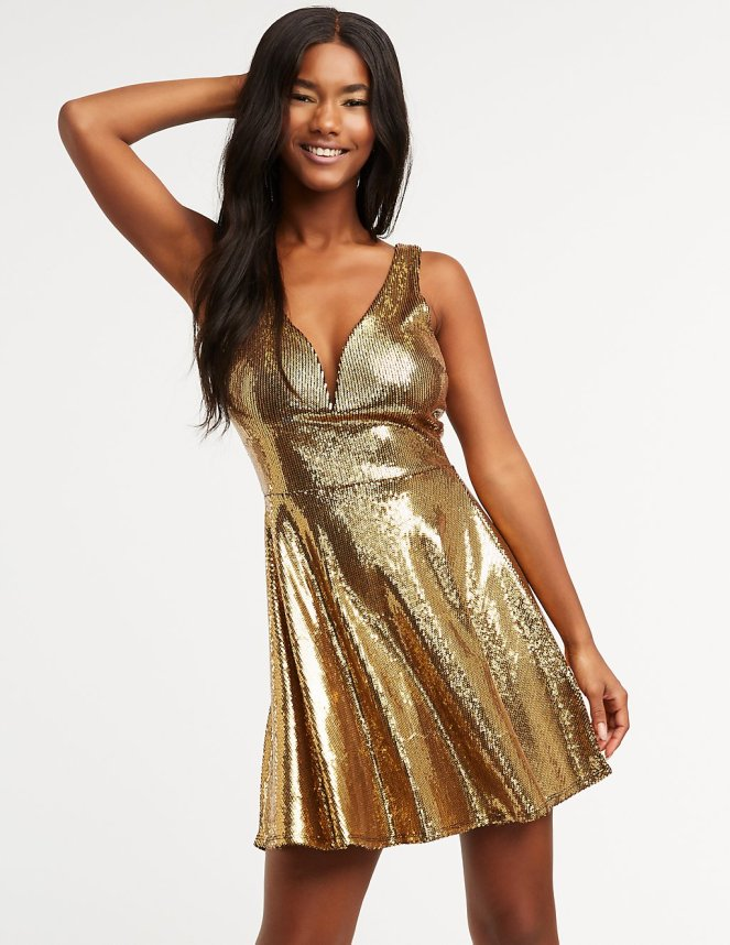 glam gold dress